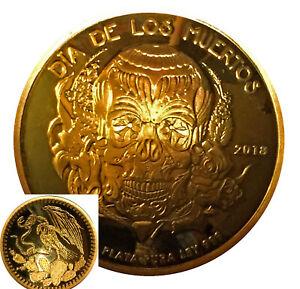 2018-1-Oz-Proof-Dia-De-Los-Muertos-Mexico-Skull-Domed-Silver-24k-Gold-Gilded