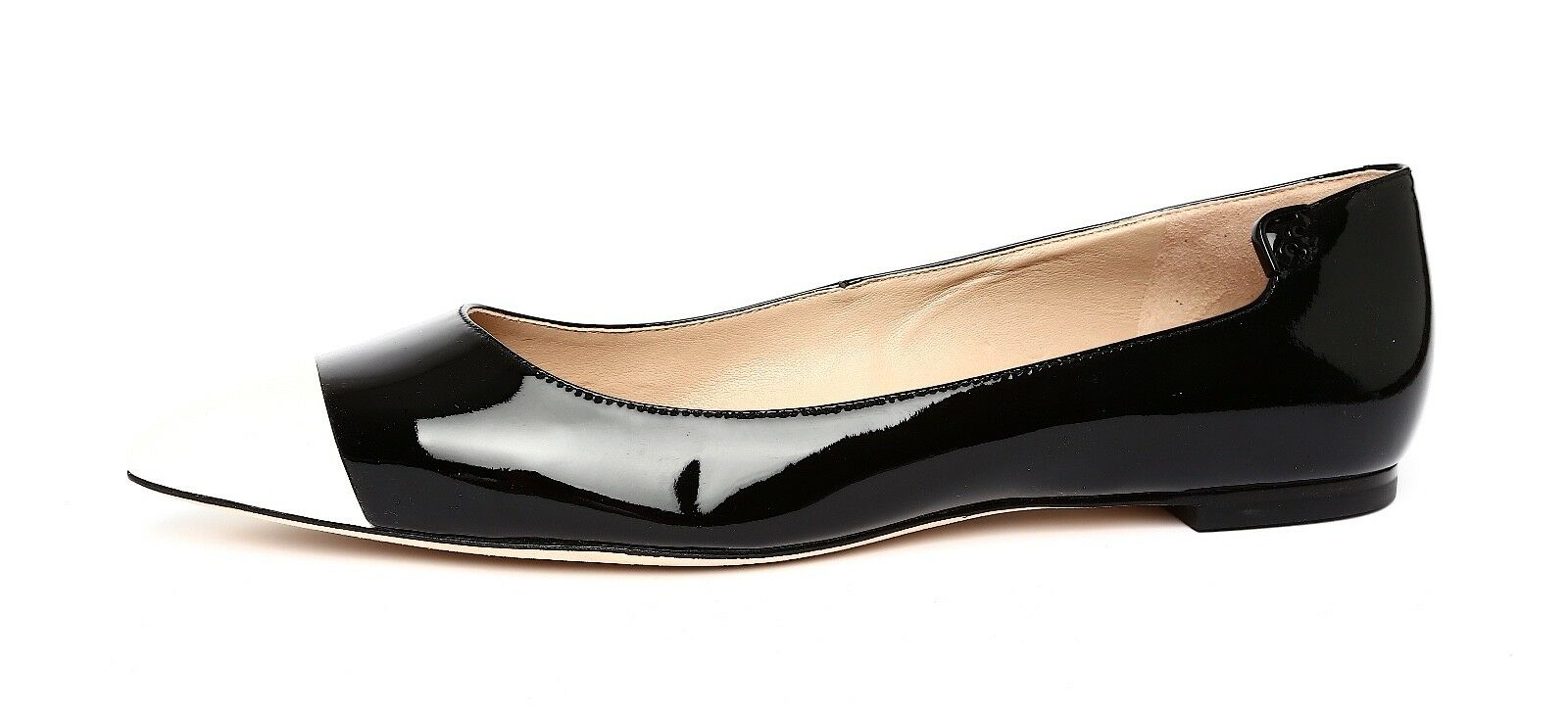 Tory Burch Elizabeth Women's Patent Patent Patent Leather Black White Flat Sz 10M 4706 d595c3