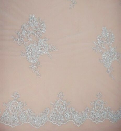 Embroidery Beaded Bridal Gown Lace Fabric Ivory Wedding Dress Tulle Fabric 0.5 Y