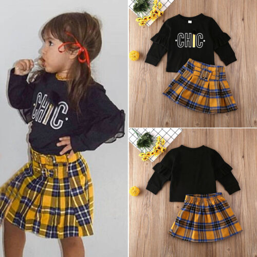 UK Toddler Kids Baby Girls Clothes Long Sleeve Top Sweatshirt Plaid Skirt Outfit