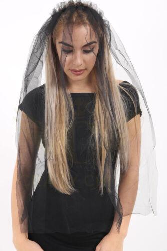 HALLOWEEN Ladies Witch Bride Black Headband With Veil Unisex  FANCY DRESS Accsor