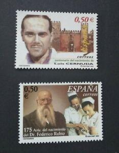 España año 2002 CENTENARIOS Nº 3894 y 3895 MNH