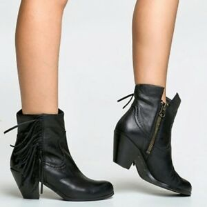 17768df057e1fa WOMENS SAM EDELMAN Boots Louie Black Fringe Western Cuffable Ankle ...