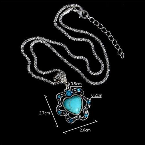 Kette  mit Anhänger türkis Herz und Kristallsteinen blau 50 cm lang