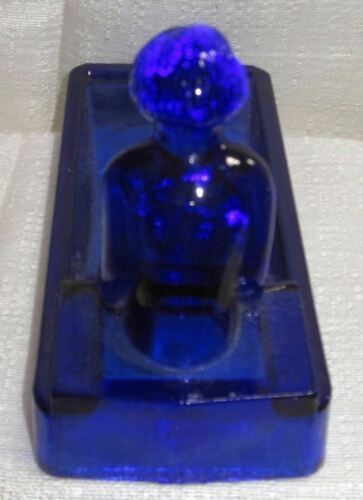 SeeArt Deco nymph card desk tray ashtray soap dish in cobalt blue all glass USA