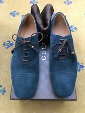 New Gucci Mens Shoes Blue Suede Lace Up UK 6 US 7 40 Bamboo Tassel Made in Italy