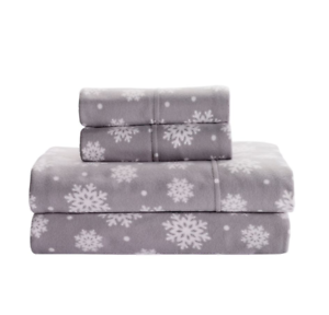 NEW FULL DOUBLE SIZE FLEECE SHEET SET FITTED SHEETS SNOWFLAKES LIVING QUARTERS