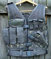Ncstar Chest Rig Tactical Vest Cross Draw Holster Heavy Duty Belt Digital Acu