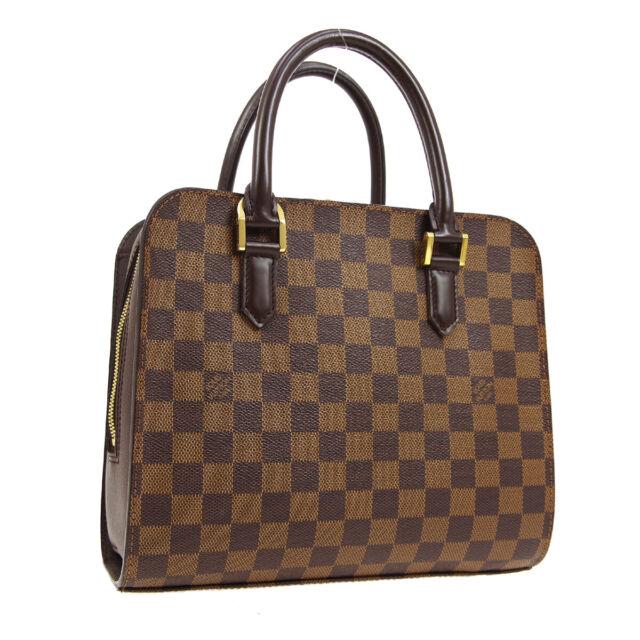 LOUIS VUITTON TRIANA HAND BAG VI1023 PURSE DAMIER CANVAS EBENE N51155 01297