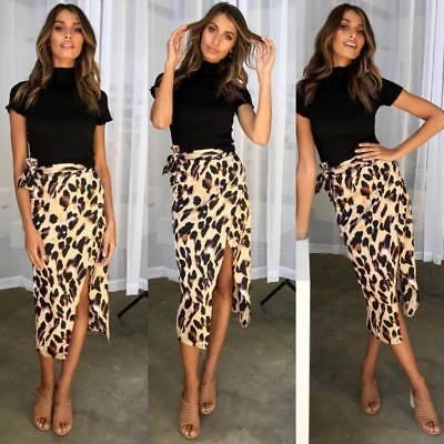 Ladies Womens Leopard Print Split Waist Sexy Skirts Fashion Midi Dress Size UK