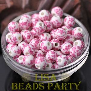 10pcs10mm-Round-Porcelain-Ceramic-Loose-Spacer-Big-Hole-Beads-Charm-Pink-Flowers