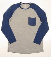 2 (x) Ist Men's Sleepwear Men's Gray & Blue L/s Baseball Pocket T-shirt