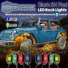 8PCS CREE RGB LED Multi-Color Offroad Rock Lights Bluetooth Music Flashing (A)