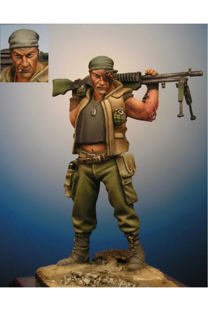 Gunner at post-apocalyptic world 54mm 1 32 Tin Painted Toy Soldier   Art