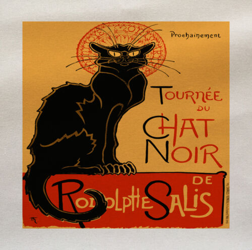 Chat Noir Cat Printed Fabric Panel Make A Cushion Upholstery Craft