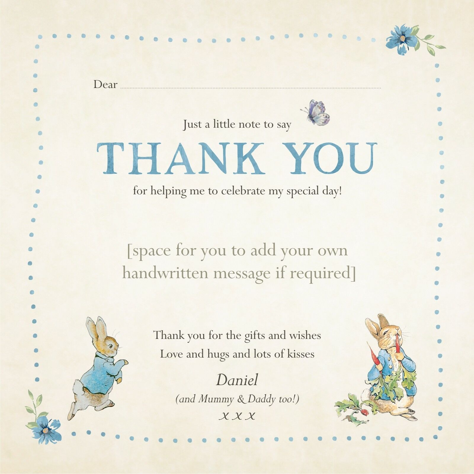 Personalised Peter Rabbit Thank you Cards Christening   Birthday   Baby Shower