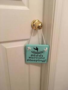 Shhh Mermaid Sleeping Wooden Nursery Girl's Room Door Sign