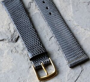 Very-elegant-dark-grey-17mm-Genuine-Lizard-vintage-watch-strap-Made-in-Europe