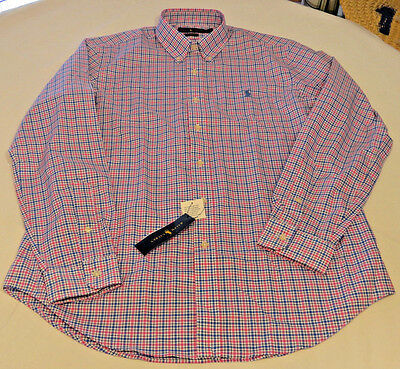 Mens Polo Ralph Lauren L long sleeve blue pink plaid 990021 classics NEW shirt