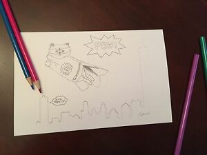 Coloring Card Superhero Cat Drawing Art Card Greeting Card Kids