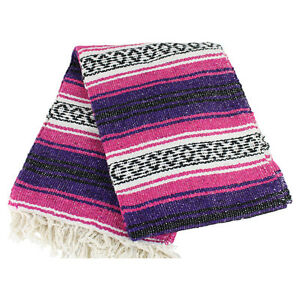 Details About Mexican Falsa Blanket In Purple And Pink Theme Throw Mat Yoga Rug New Genuine