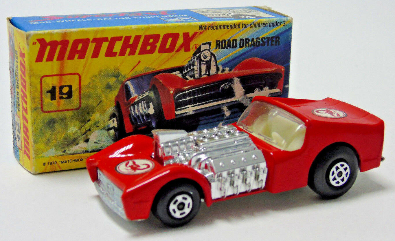 No.19 1971 Matchbox Superfast rouge Road  Dragster Scorpion Decal 1 64 Scale Boxed  site officiel