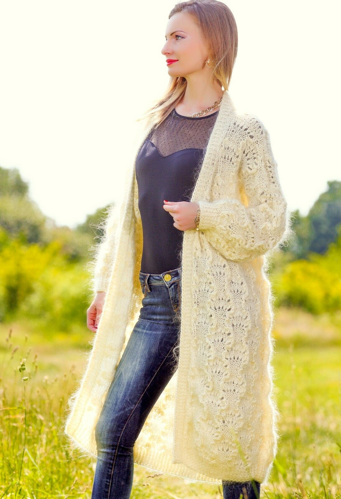 Ivory lace sweater cardigan unique SUPERTANYA mohair sweater summer coat SALE