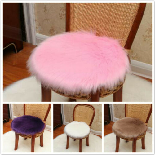 Soft Fluffy Faux Fur Seat Rug Mat Round Fluffy Small Rug Chair Carpet Pad 8C