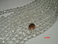 10 Strands 12mm Round Clear Faceted Glass Beads Lot (as6)