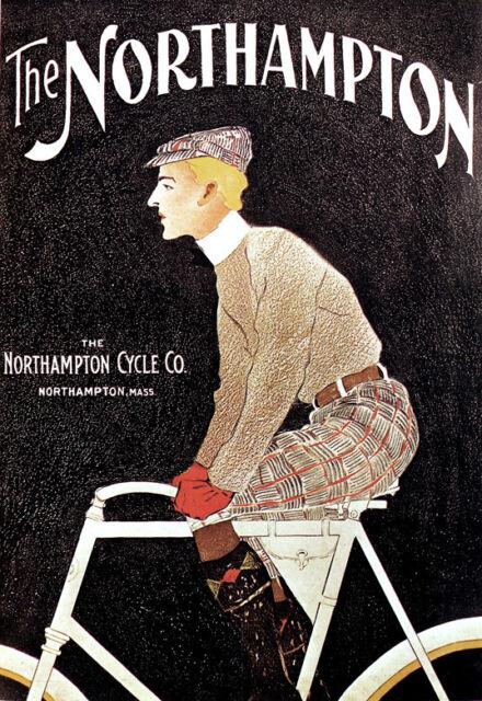 Deco - Northampton USA Bicycle - Cycle - Bike A3 Art Poster Print