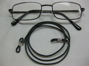 EXTRA-LONG-32-034-BLACK-2mm-Soft-Leather-Eyeglass-Cord-Adjustable-End-Holder-USA