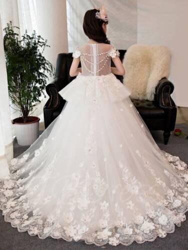 Blanc Fleur Fille Robe De Dentelle Applique Tulle princesse Pageant Fête Anniversaire Robe