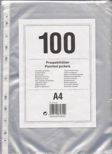 100 x Klarsichthüllen A4 Genarbt Aktenhüllen,Klarsichtfolie Neu