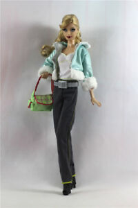7in1 Set Fashion Coat+vest+pants+shoes+bag+scarf+hat FOR 11.5in.Doll Clothes