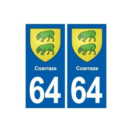 64 Coarraze blason autocollant plaque stickers ville arrondis
