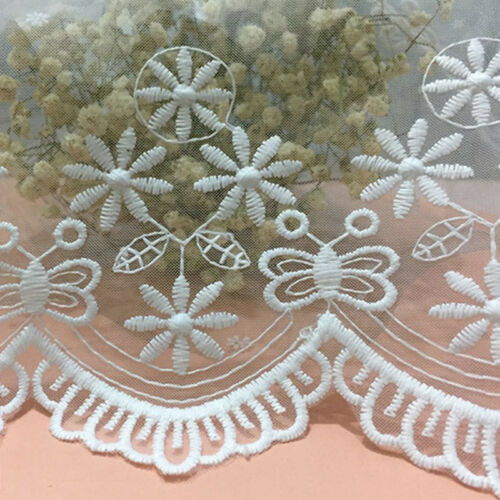 1Yd Vintage Embroidery Bridal Sewing Lace Trim Ribbon Fabric Scalloped Applique