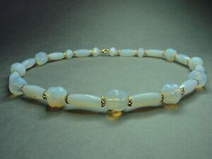 Vintage-Bohemian-Czech-Opalescent-Art-Glass-Pressed-Bead-Necklace-Rare