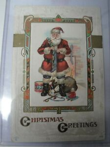 Vintage-Christmas-Postcard-Embossed-Christmas-Greetings-Early-1900-039-s-Santa