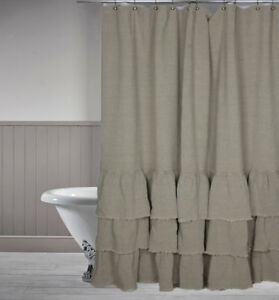 Image Is Loading Washed 100 Linen Shower Curtain Ruffle 72x72 Inch