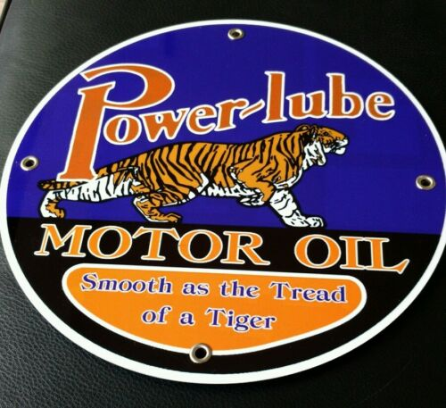 """Power Lube Gasoline gas oil sign ...~12/"""" round .. FREE shipping on any 8 signs"""