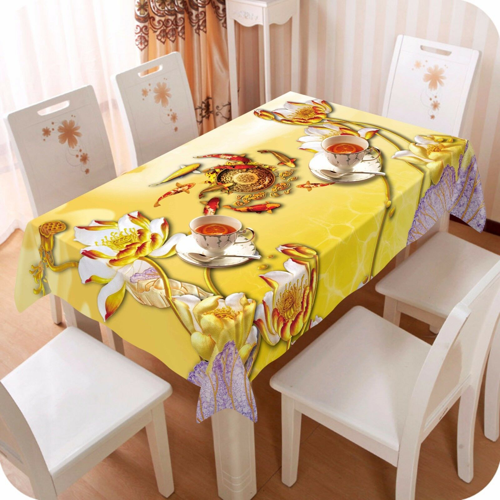 3D Lotus 4364 Tablecloth Table Cover Cloth Birthday Party Event AJ WALLPAPER AU