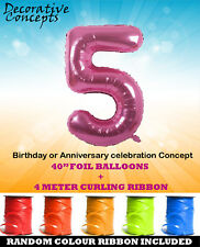 Giant 5th Birthday Party 40 Foil Balloon With Curling Ribbon Age 5 PINK