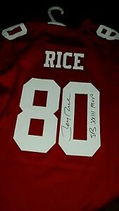 best service 594d1 e5c6f Details about Jerry Rice 49ers Super Bowl XXIII Signed Jersey New XL  Autograph w/proof