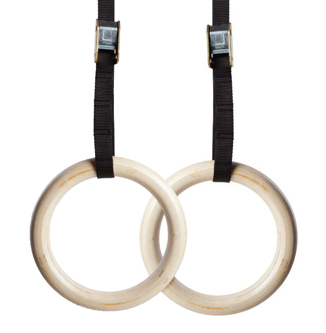 Wooden Gymnastics Rings - Fitness Training Rings with Straps & Free Gym Chalk
