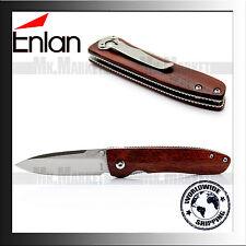 Genuine Enlan M028 · Wooden Handle · Folding Knife · 8Cr13MoV · Liner Lock