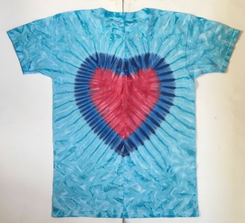 SM 4XL longues ou manches courtes * NEUF * Fait main turquoise avec cœur rouge tie dye