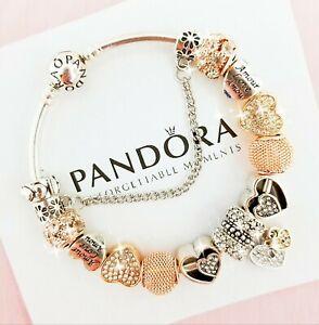 Authentic Pandora Bracelet Silver Bangle with Love Heart European ...