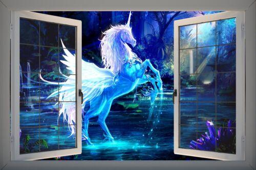 Ventana de PVC efecto 3D Pegasus Unicornio Fantasía Pegatina Pared Póster Vinilo GA19-9