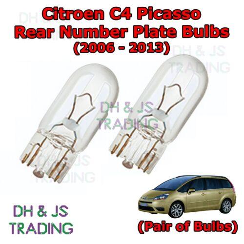 06-13 Citroen C4 Picasso Rear Number Plate Bulbs Reg Plate Bulb Pair Light