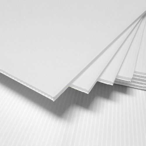 """4mm White 18/"""" x 12/"""" Corrugated Plastic Coroplast Sheets Sign Vertical ^ 2 Pack"""
